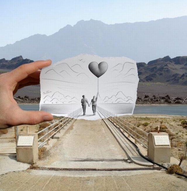 Удивительный эффект объединения искусства фотографии и рисунка