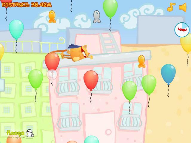Отличная игра про кота, который летает на воздушных шарах